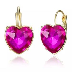 Brand New Heart Shaped Crystal Earrings.